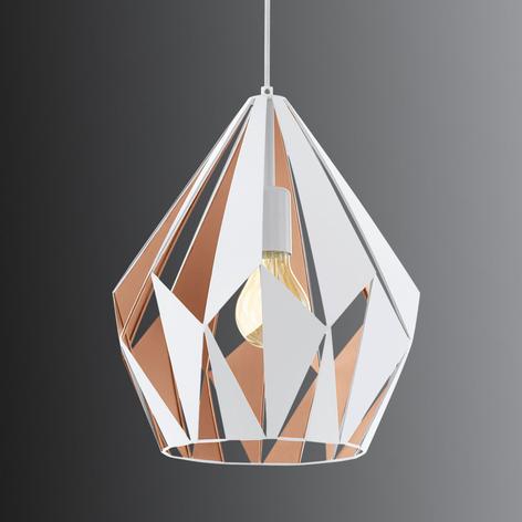 Závěsné světlo Carlton, bílozlaté, Ø 31cm