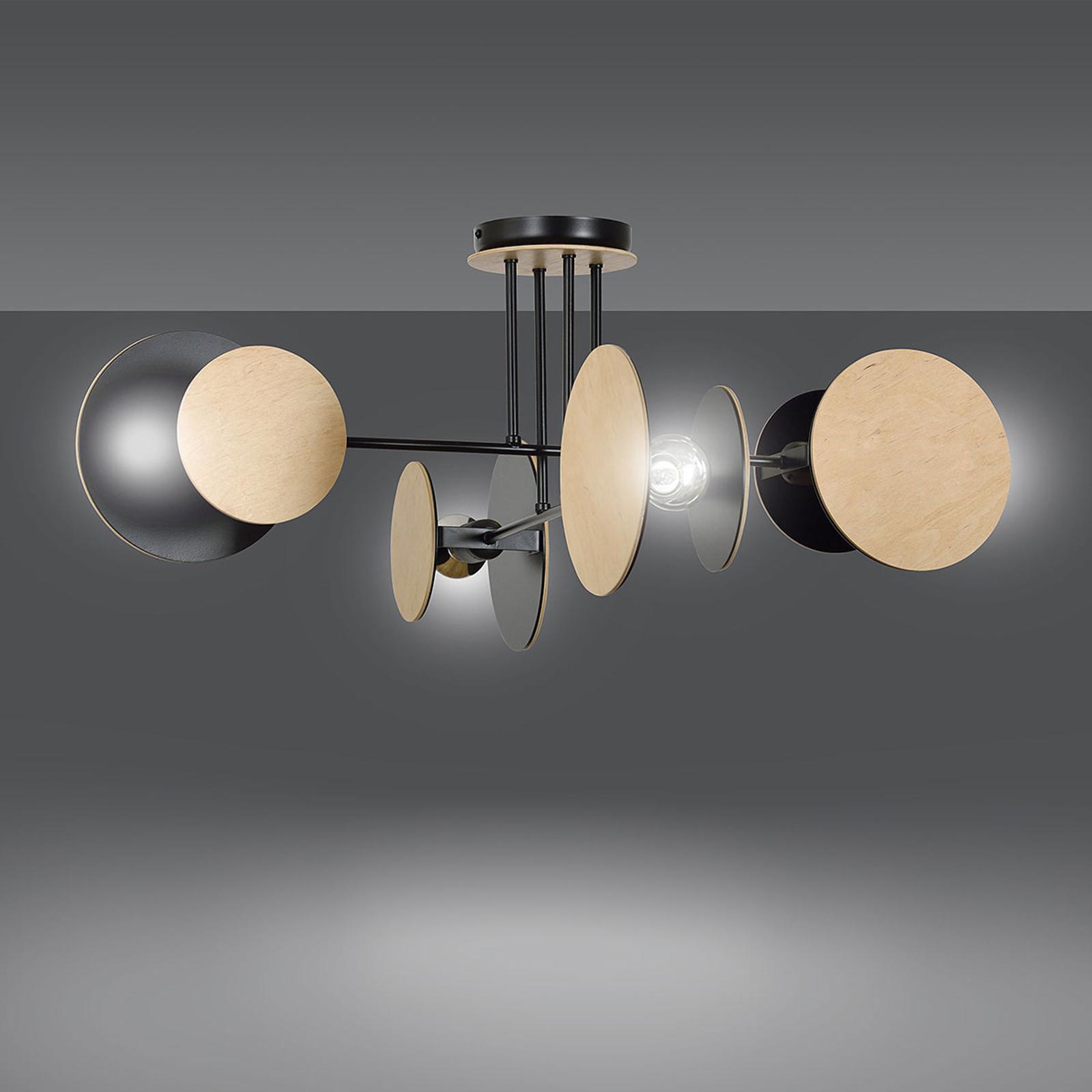 Plafondlamp Zita 4 in zwart met houtdecor