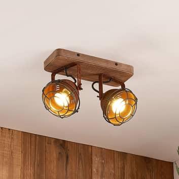 Lindby Farovi foco de techo oxidado, 2 luces