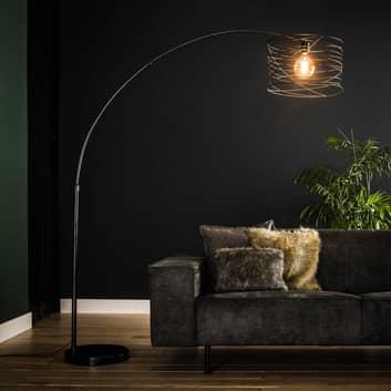 Boogvloerlamp Swirlaronda met spiraal-kap