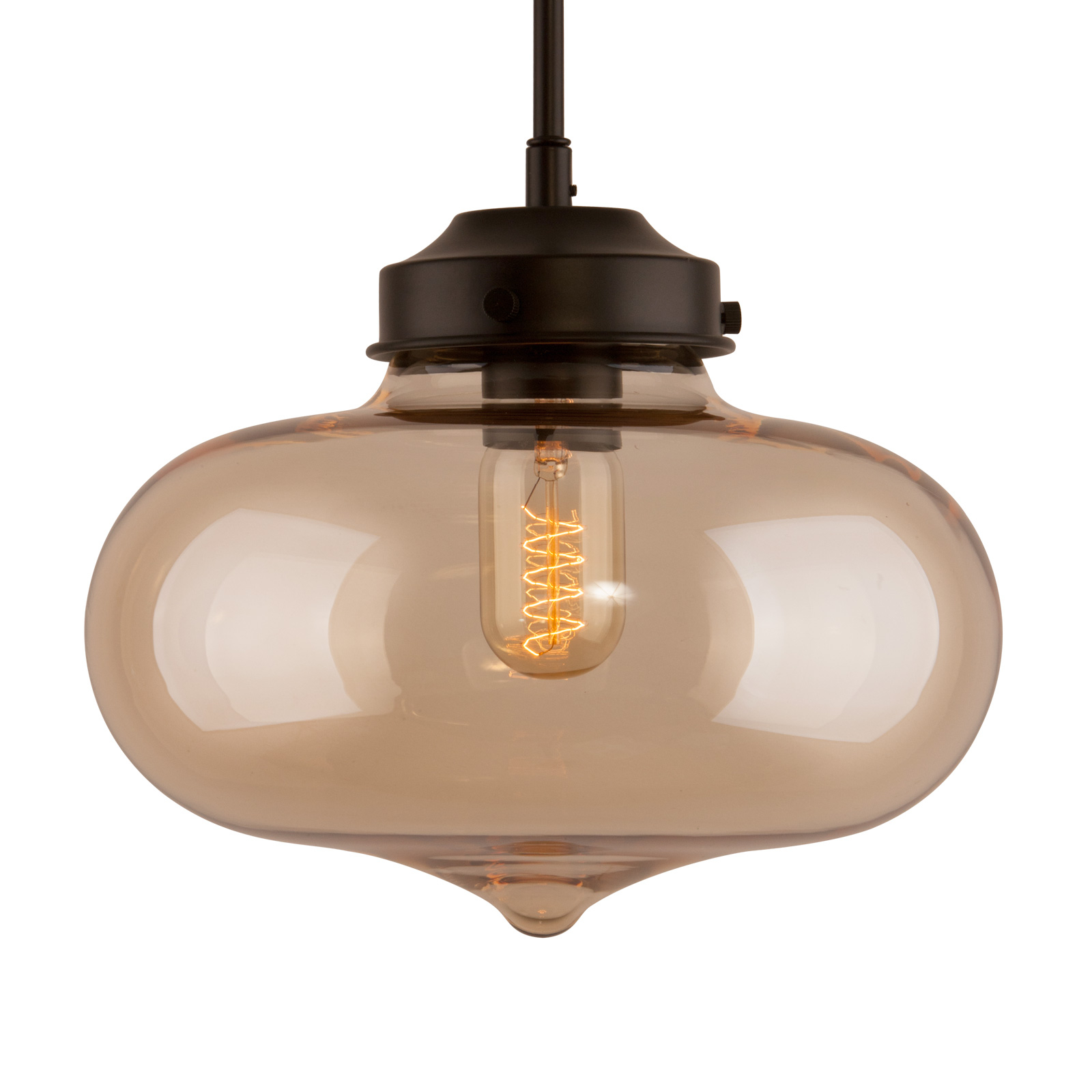 Hängeleuchte LA005 E27 herzförmig Glasschirm amber