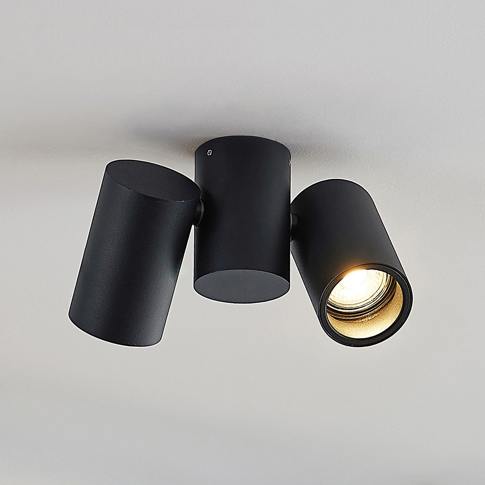 Loftlampe Gesina, to lyskilder, sort