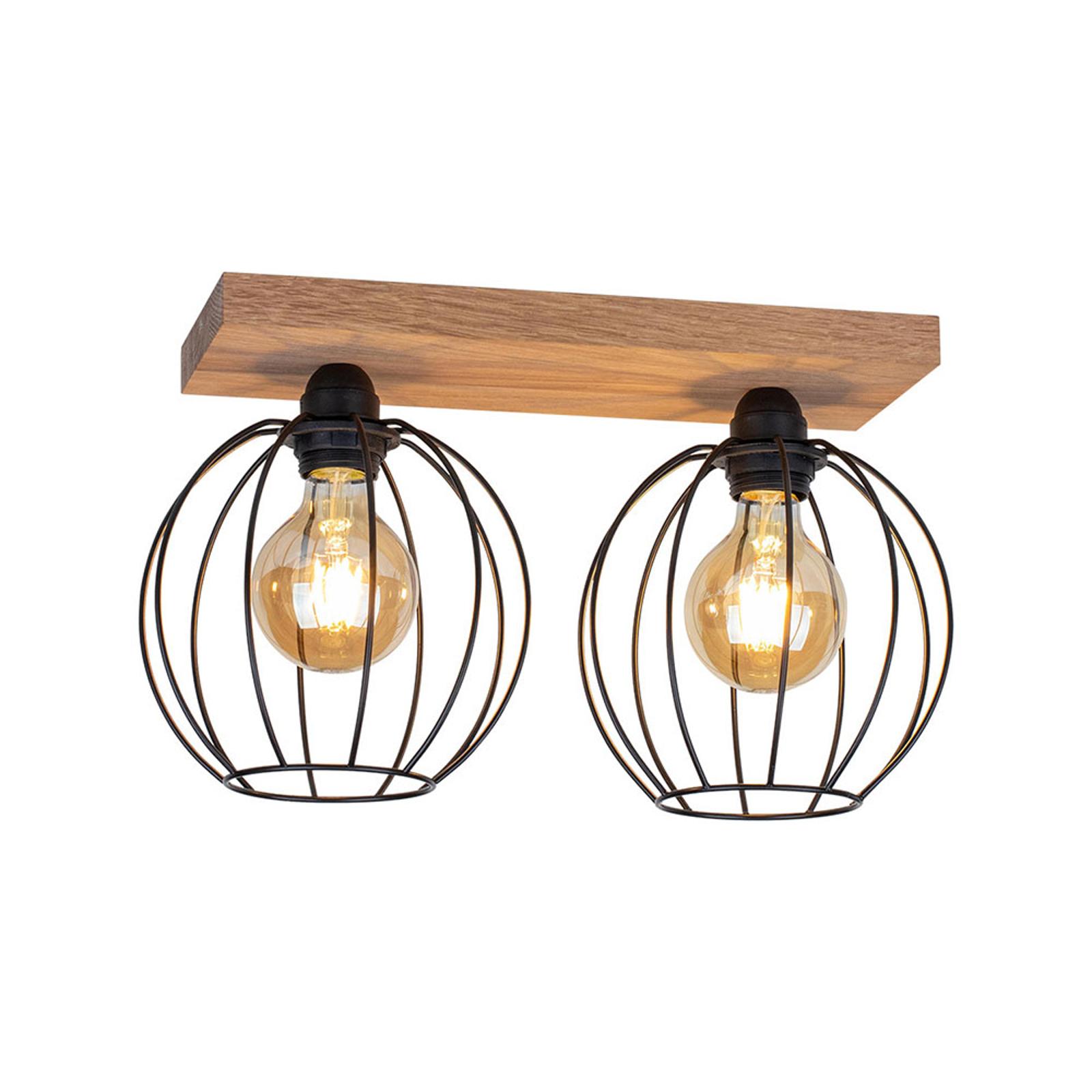 Plafonnier Dorett, chêne, à 2 lampes
