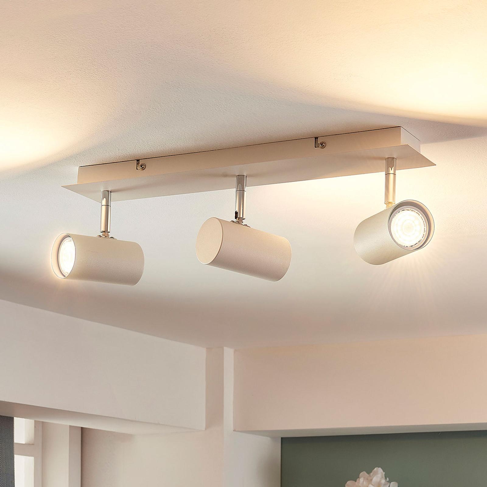 Trzypunktowa lampa sufitowa LED Iluk, biała