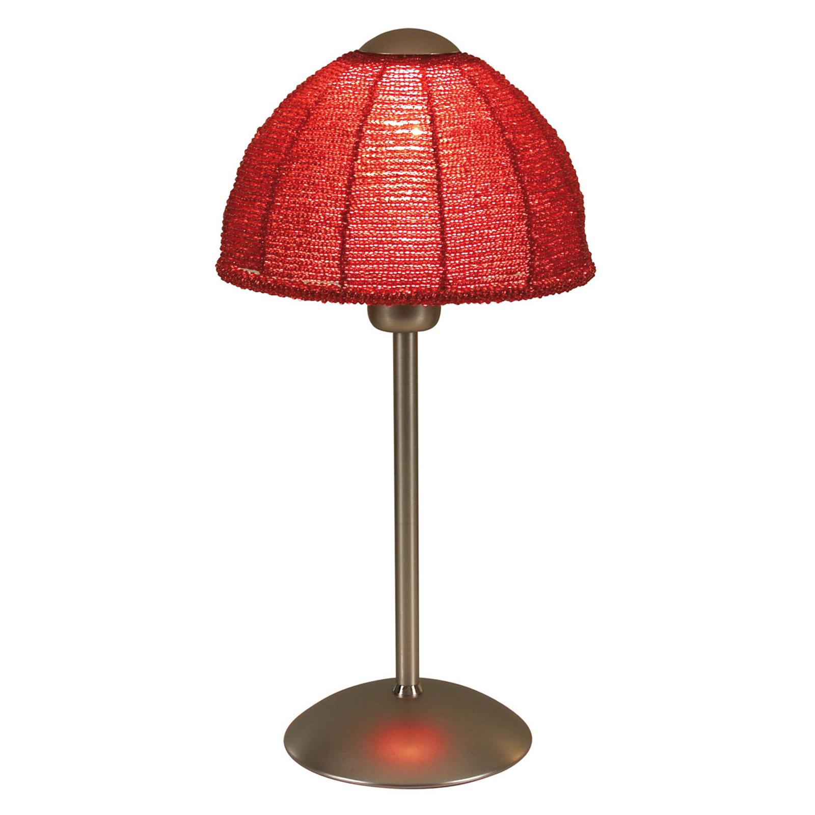 Tischleuchte Pearl mit rundem Schirm rot
