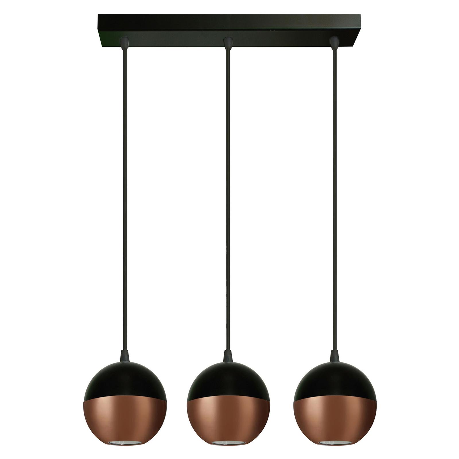 Suspension Midway en noir/cuivré 3 lampes allongée