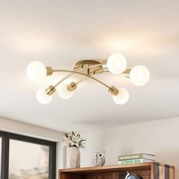 Lindby Agmar LED-taklampa, mässing, 6 lampor