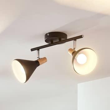 Plafonnier LED Arina à 2 lampes en noir