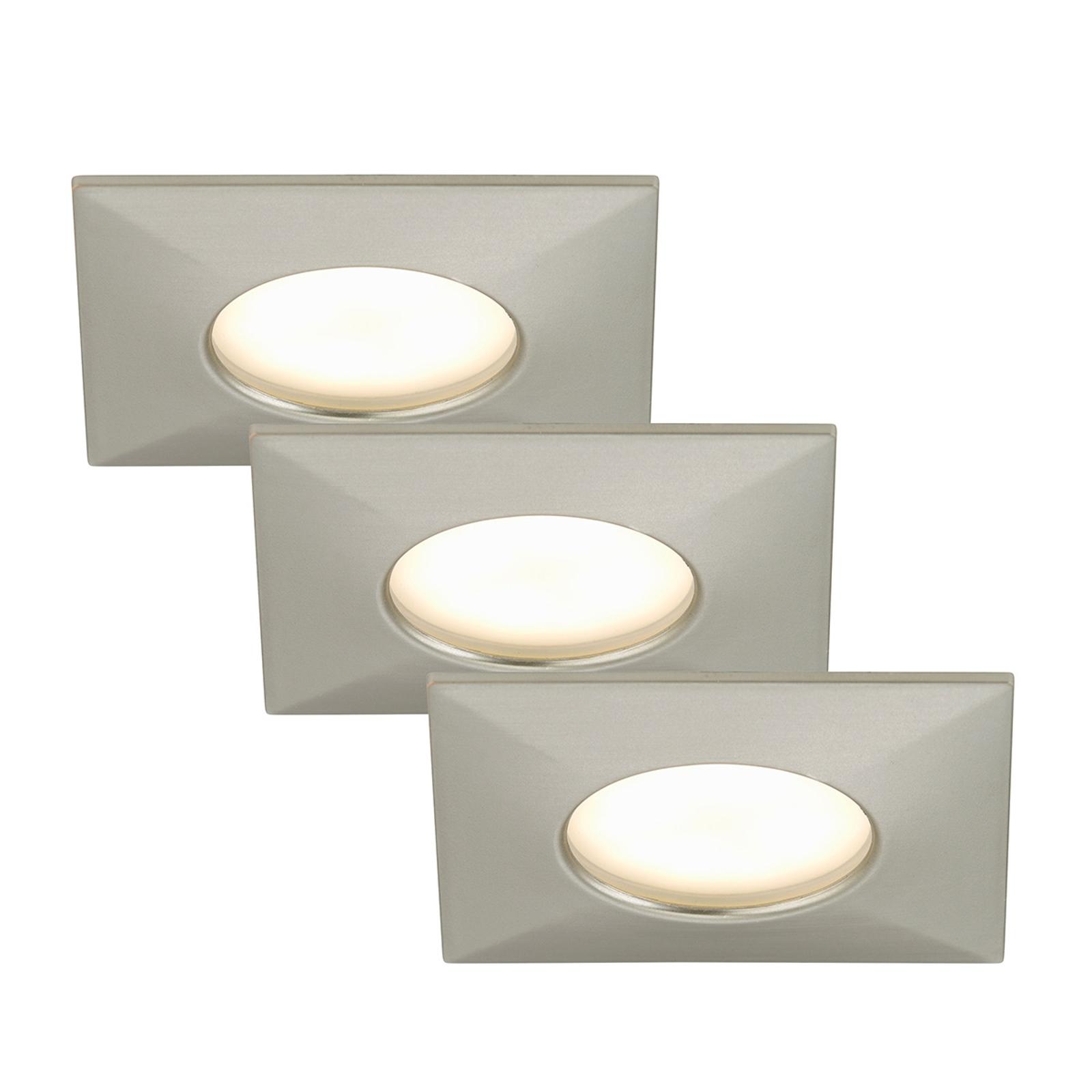 Set de 3 focos empotrables LED Luca, IP44, níquel