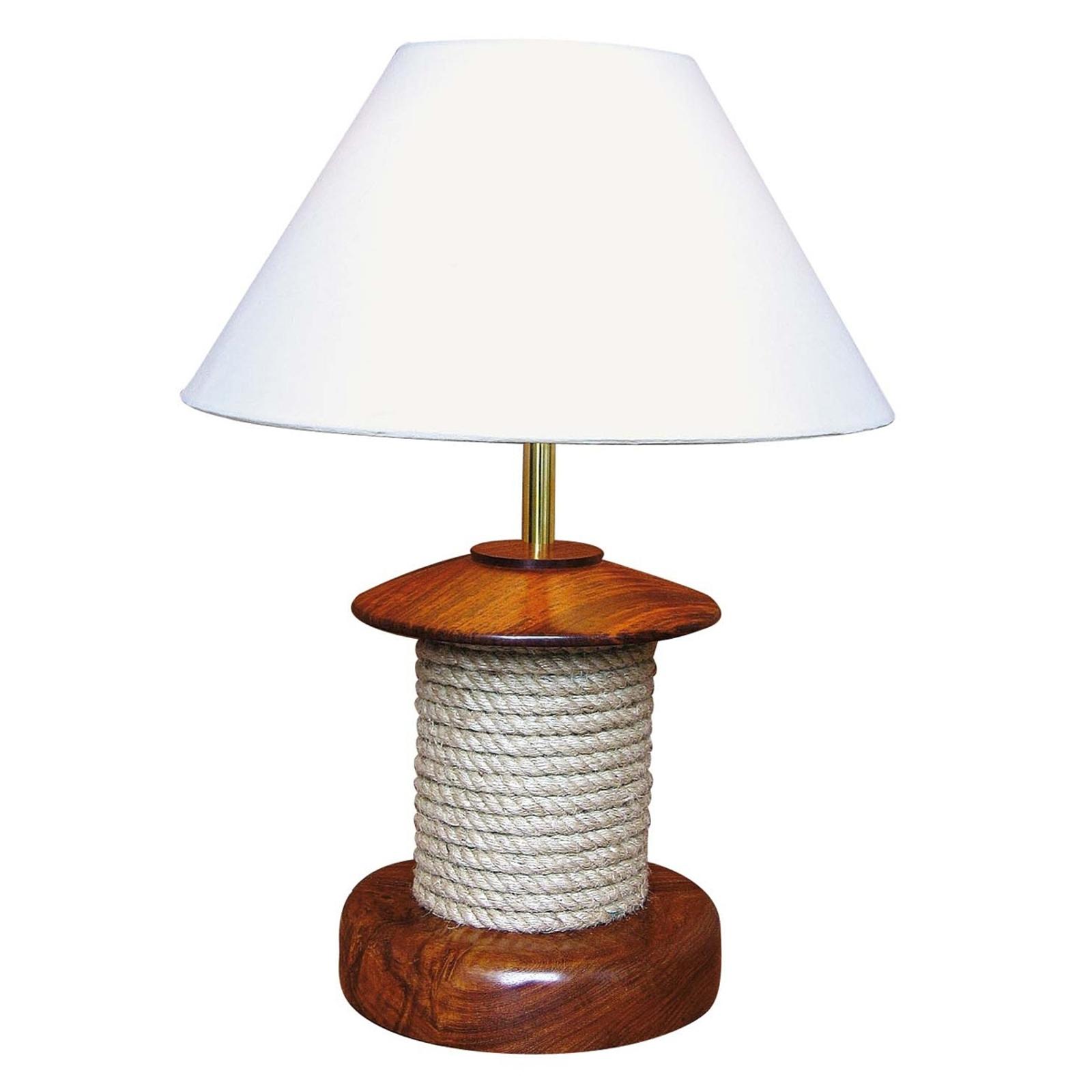 Interesująca lampa stołowa PULLEY z drewnem