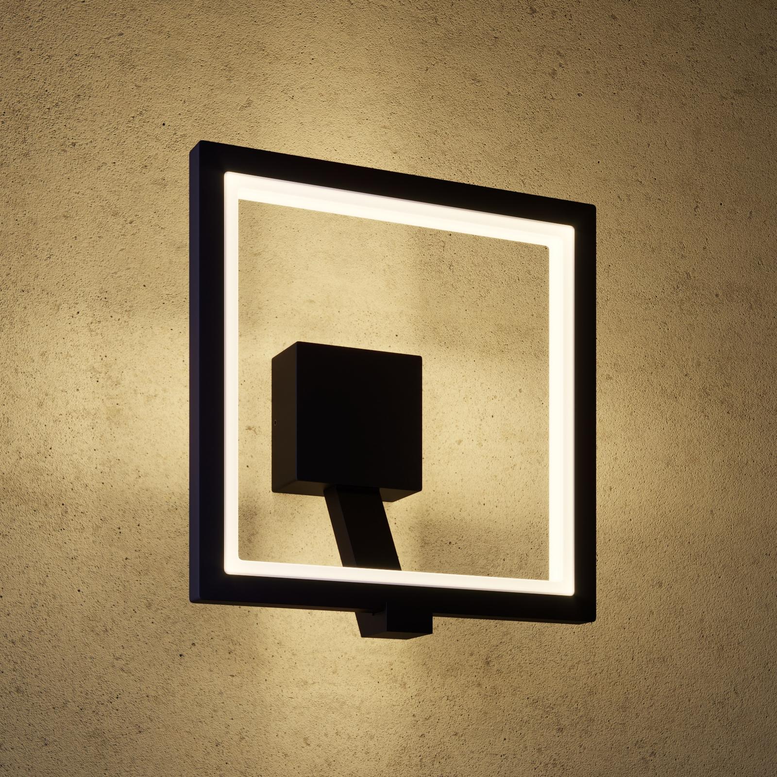 LED buitenwandlamp Square, grafietgrijs