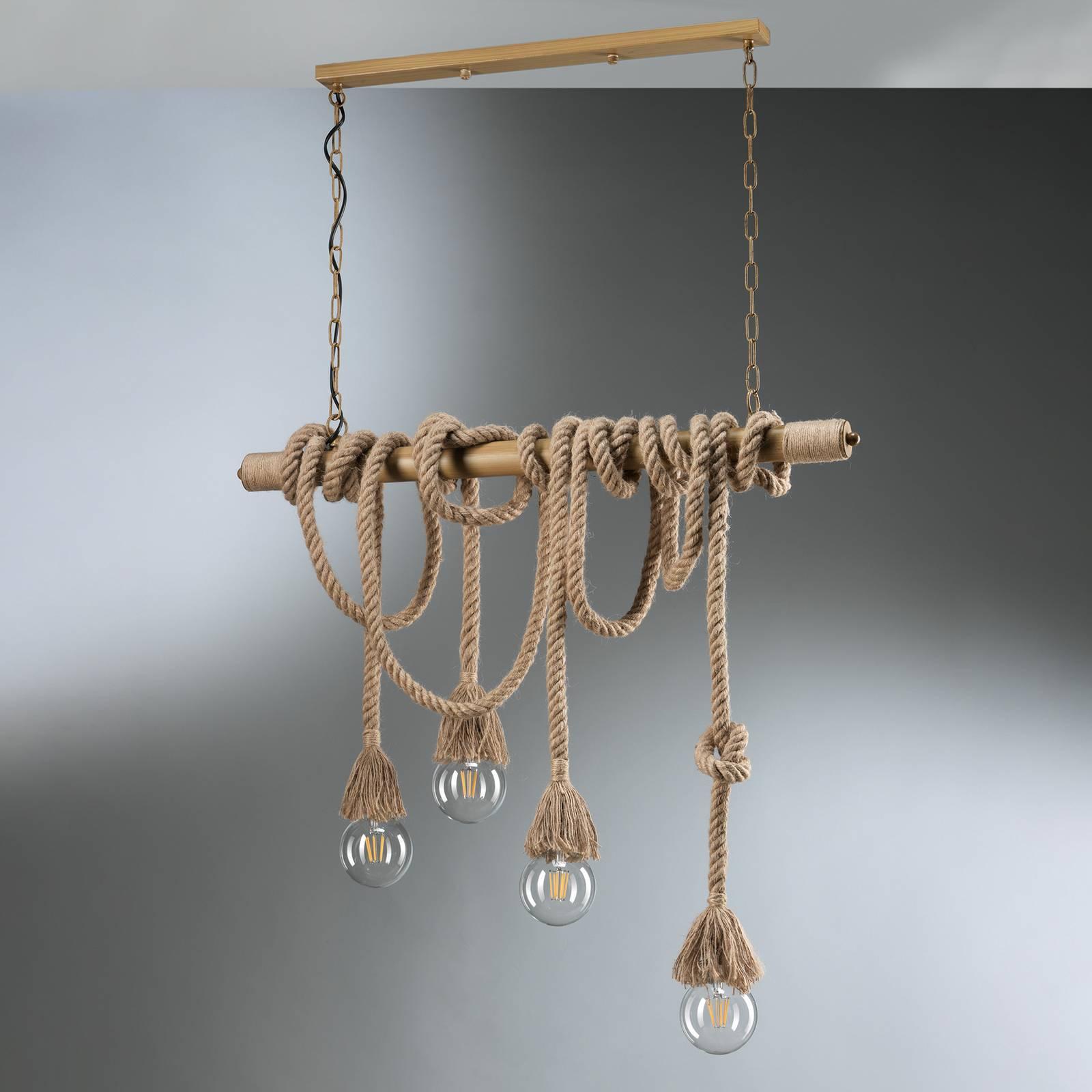 Hängeleuchte Mauli aus Holz und Seilen