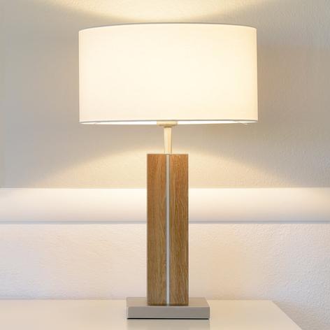 Bordlampe Dana med træfod og tekstilskærm