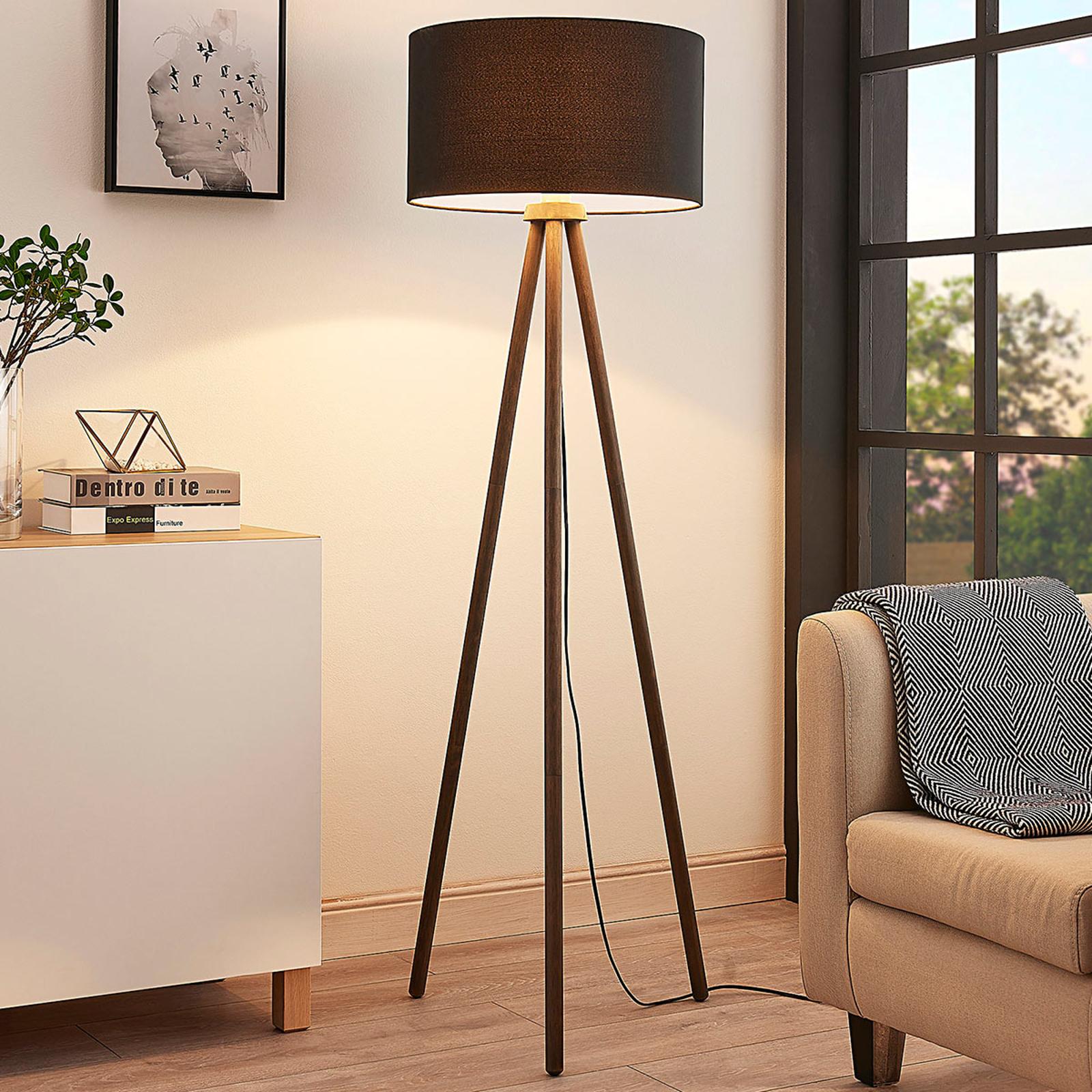 Tekstylna lampa stojąca Majken – ciemnoszara/czerń