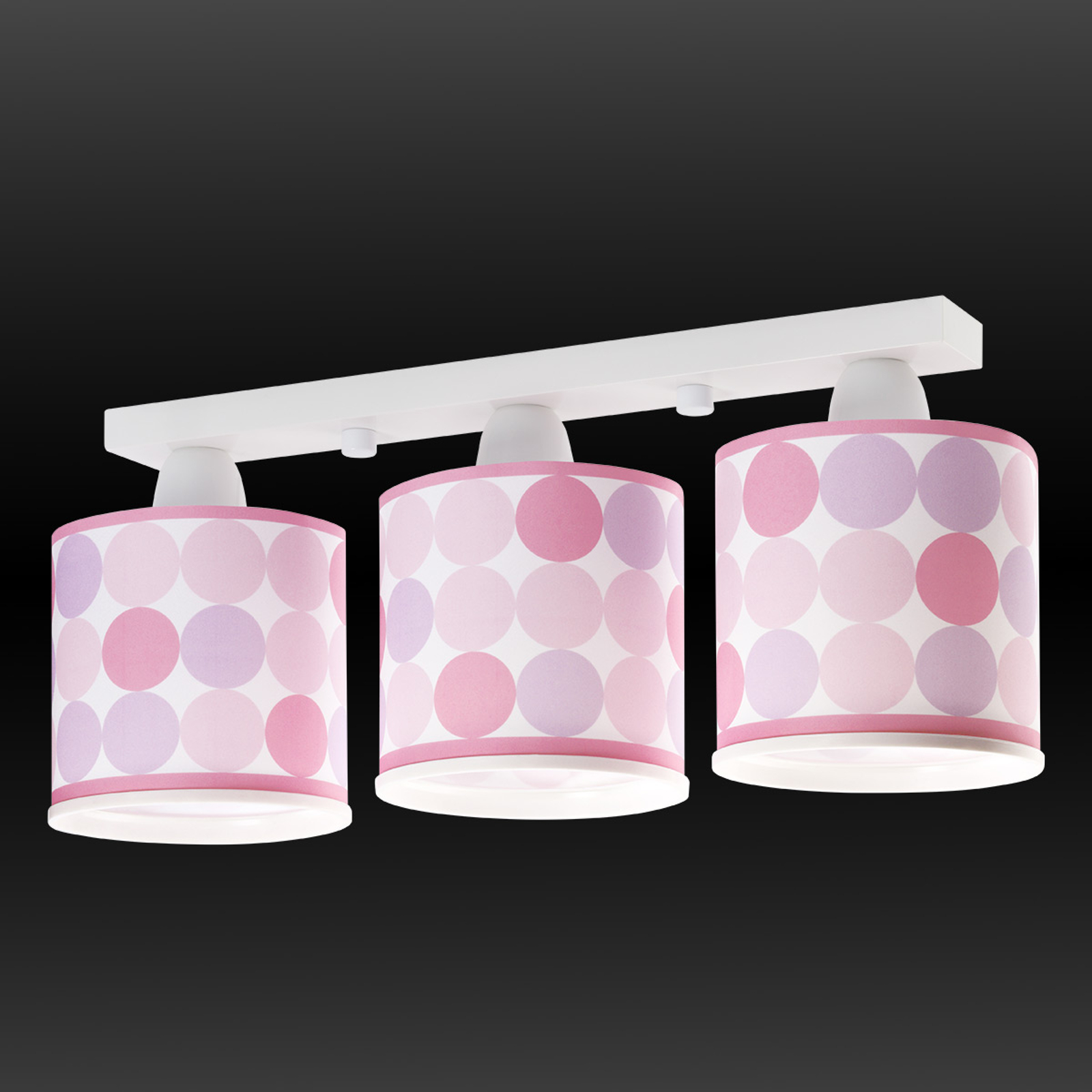 Plafoniera Colors a pois, rosa