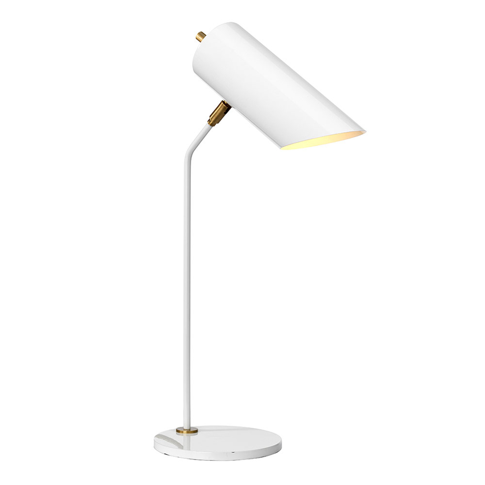 Tafellamp Quinto, wit/messing antiek