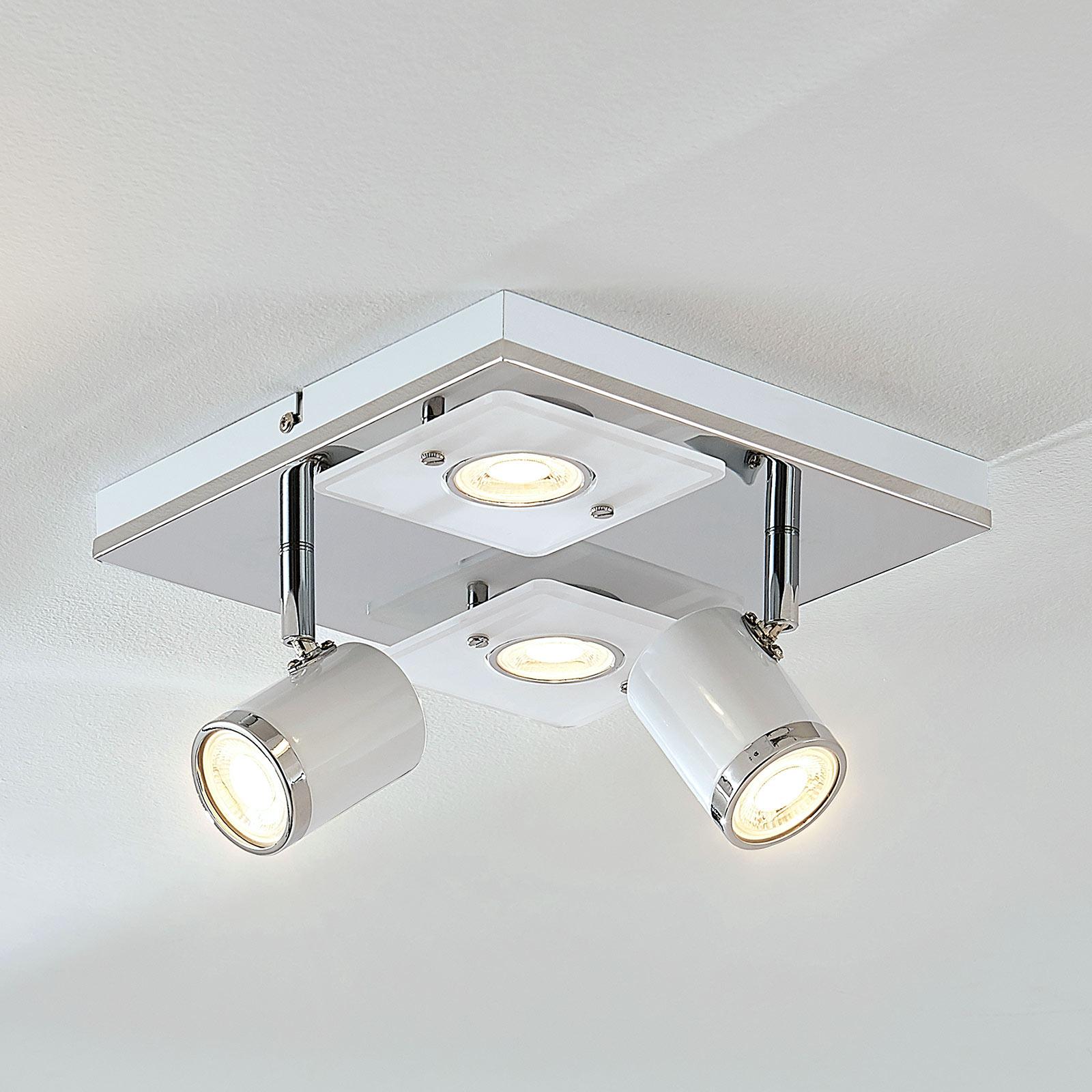 Plafonnier LED Alsuna, quatre lampes, 24 x 24cm