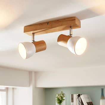 Holz-Deckenlampe Thorin, zweiflammig