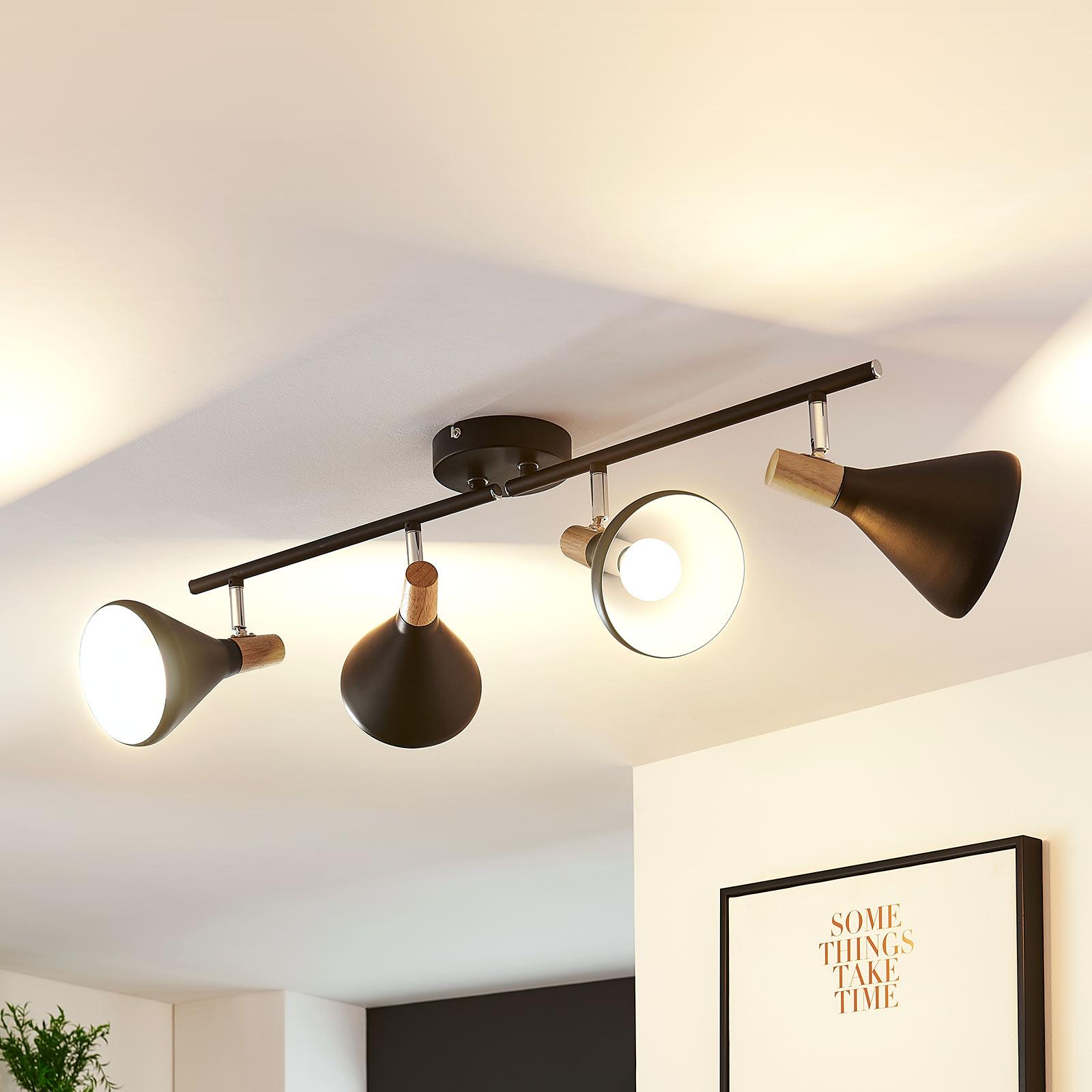 Plafonnier avec spots LED Arina noir, détails bois