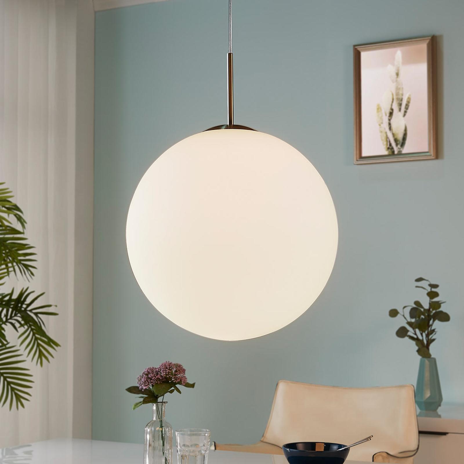 Lámpara colgante de bola Marike vidrio opal, 40 cm