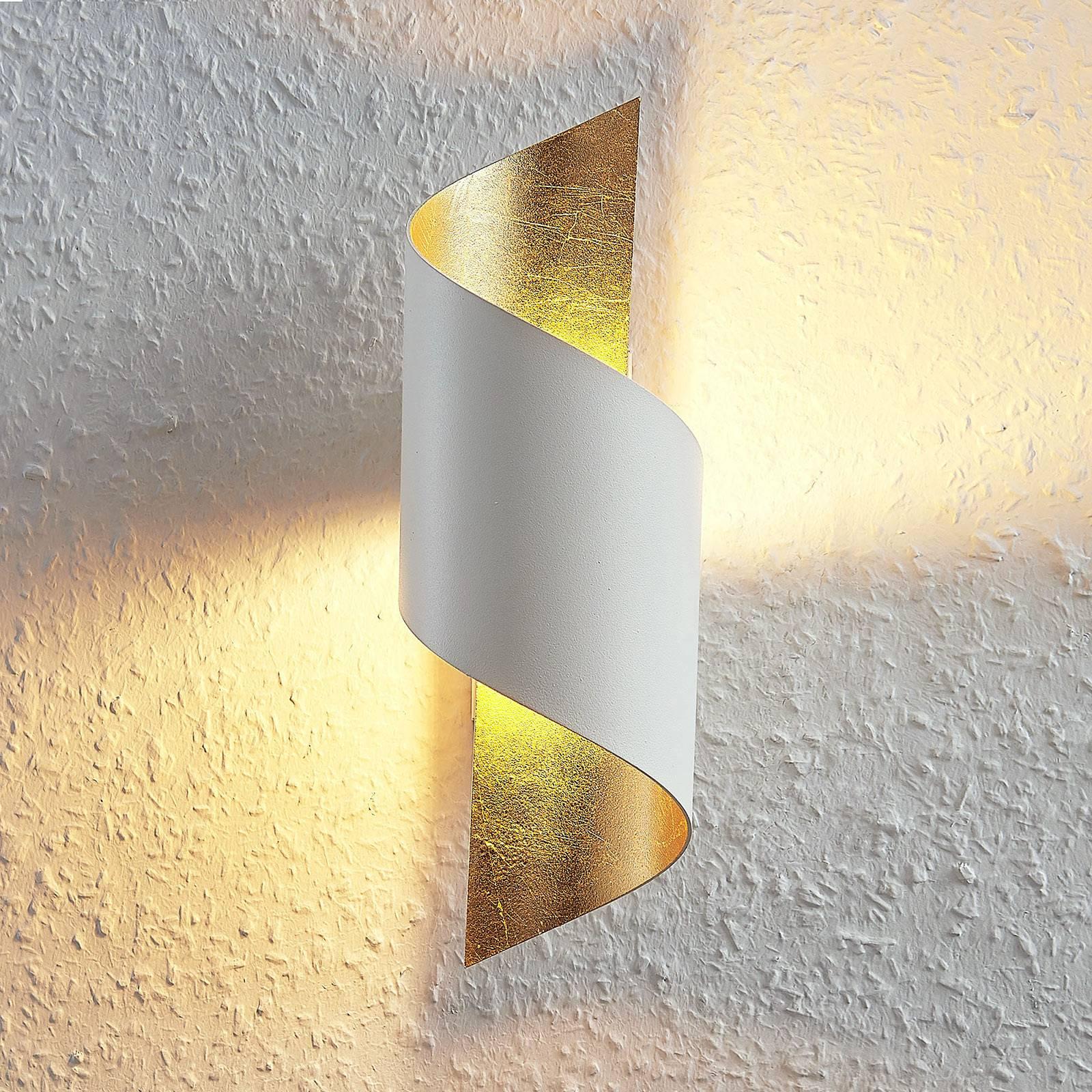 Metalen LED wandlamp Desirio, wit-goud
