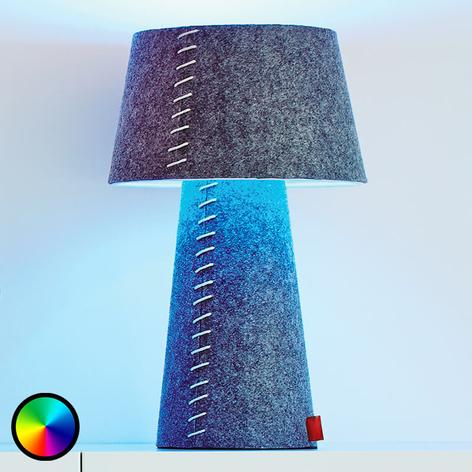 Farbwechselnde LED-Tischlampe Alice aus Filz