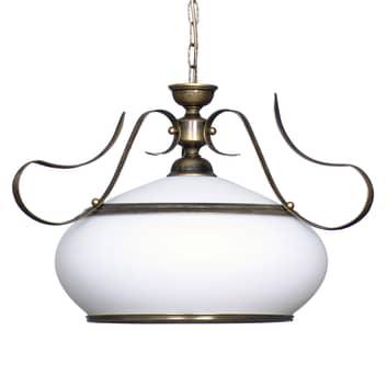 Lámpara colgante 493 vidrio opal/oro antiguo 1 luz