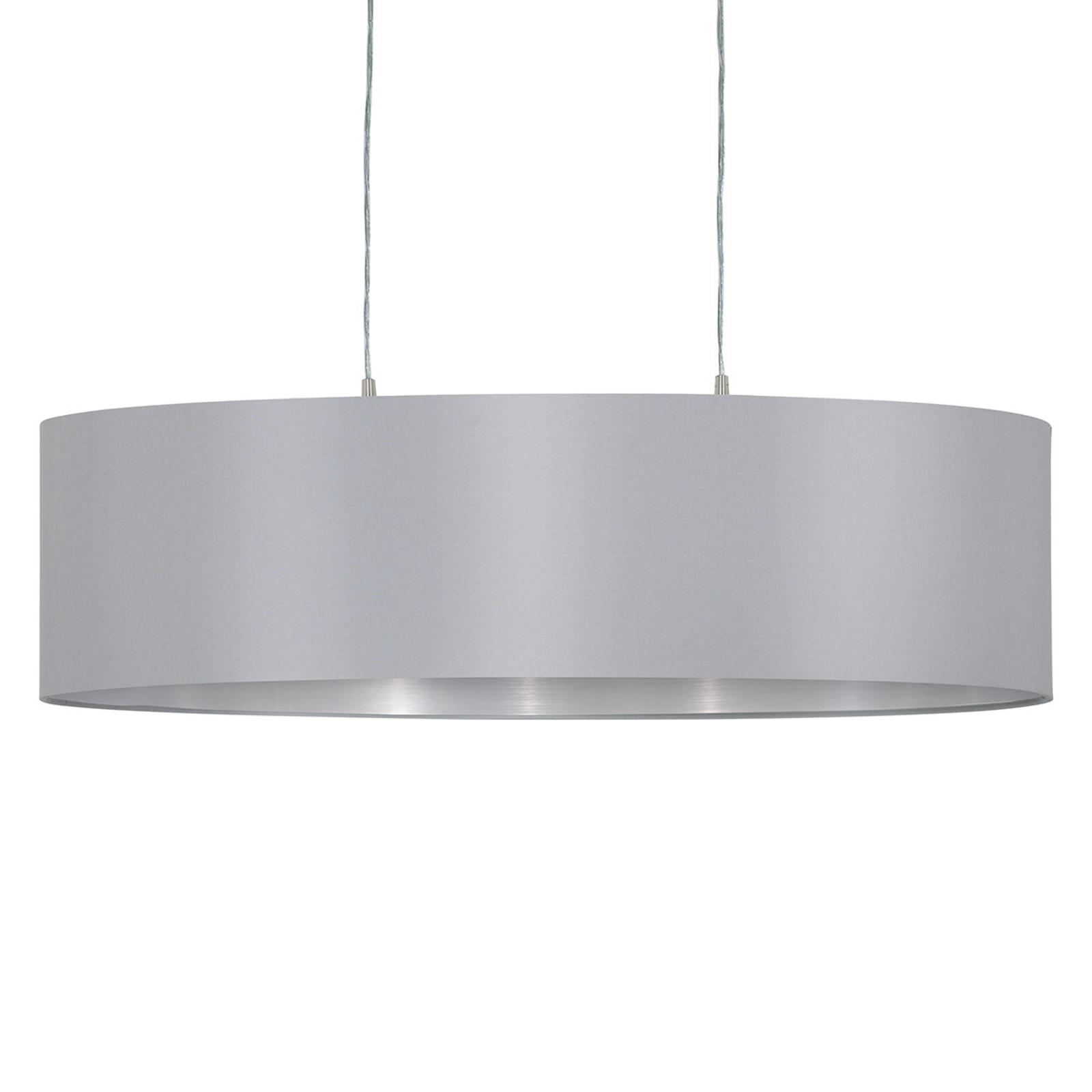 Hanglamp Maserlo ovaal, grijs-zilver