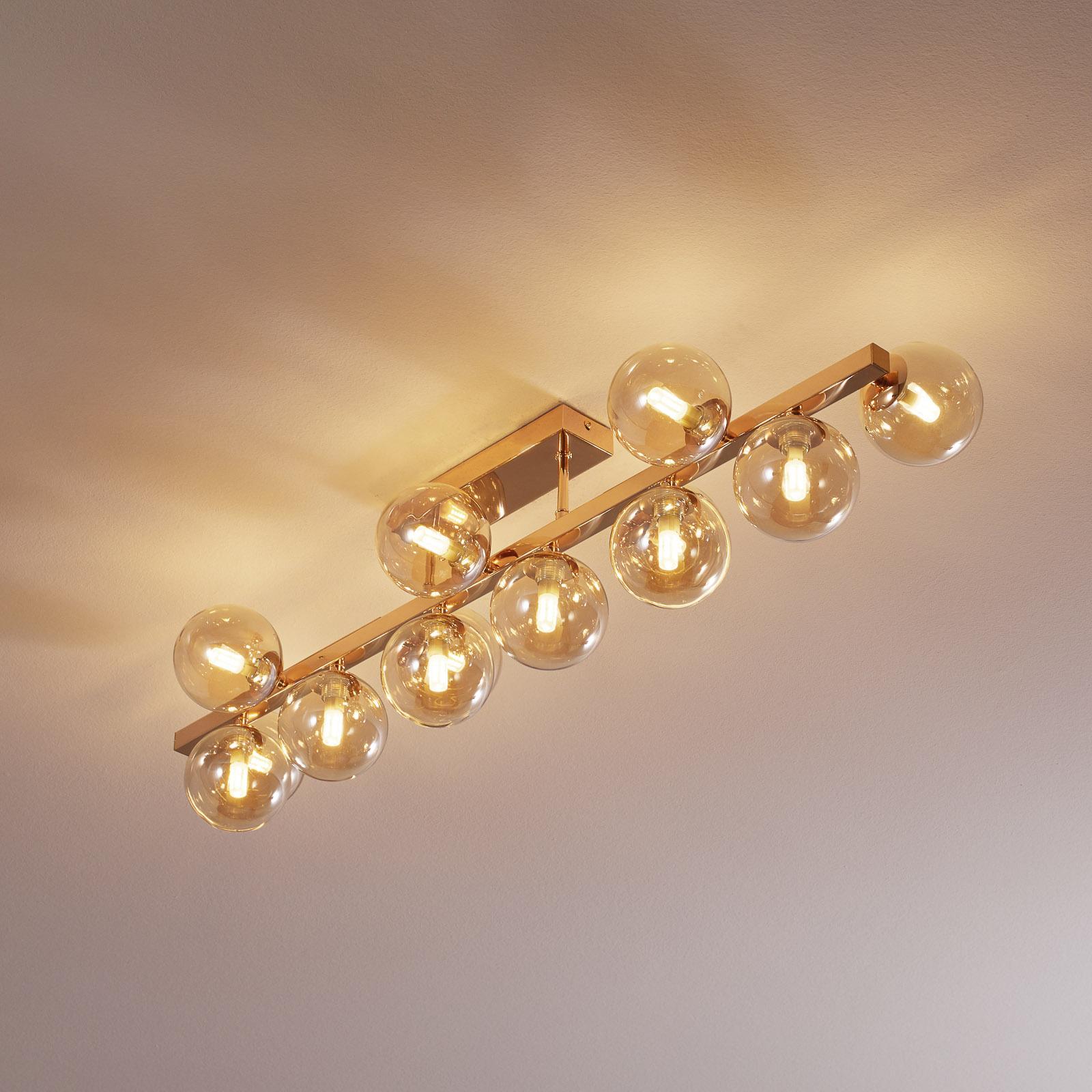Dallas taklampe, gull, 13 lyskilder
