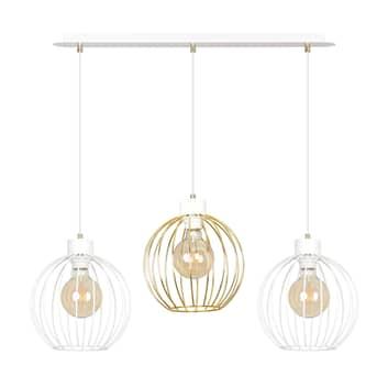 Pineta 3 hængelampe, 3 lyskilder, hvid-guld
