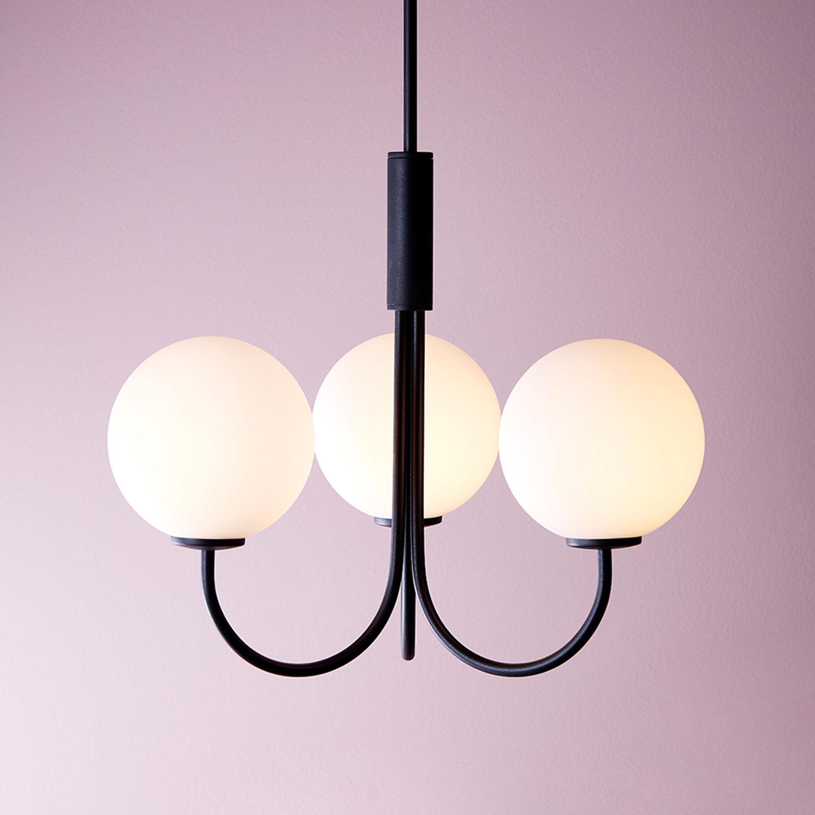 Kroonluchter Ballon met schakelaar 3-lamps zwart