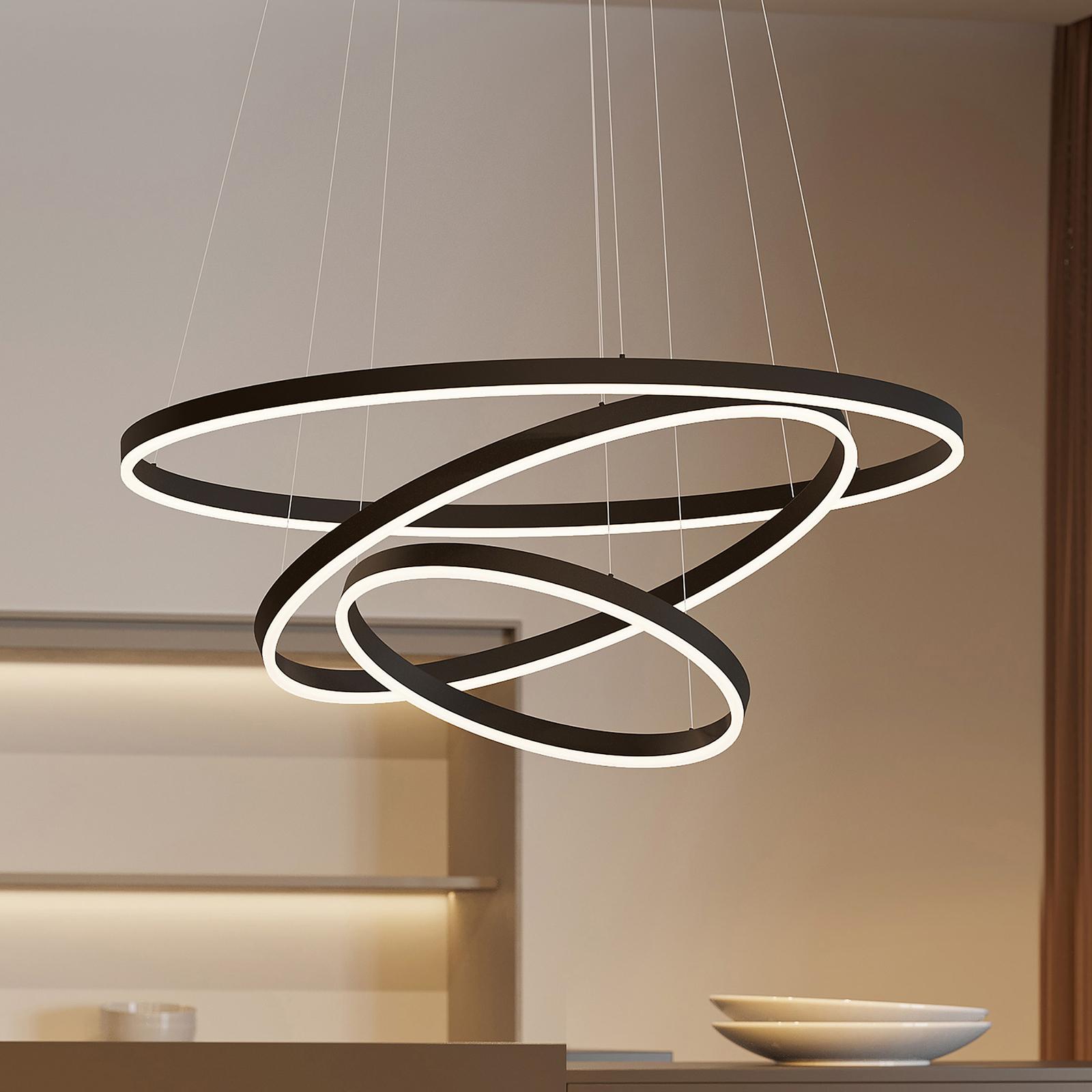 Arcchio Albiona LED-Hängeleuchte, schwarz, 3 Ringe