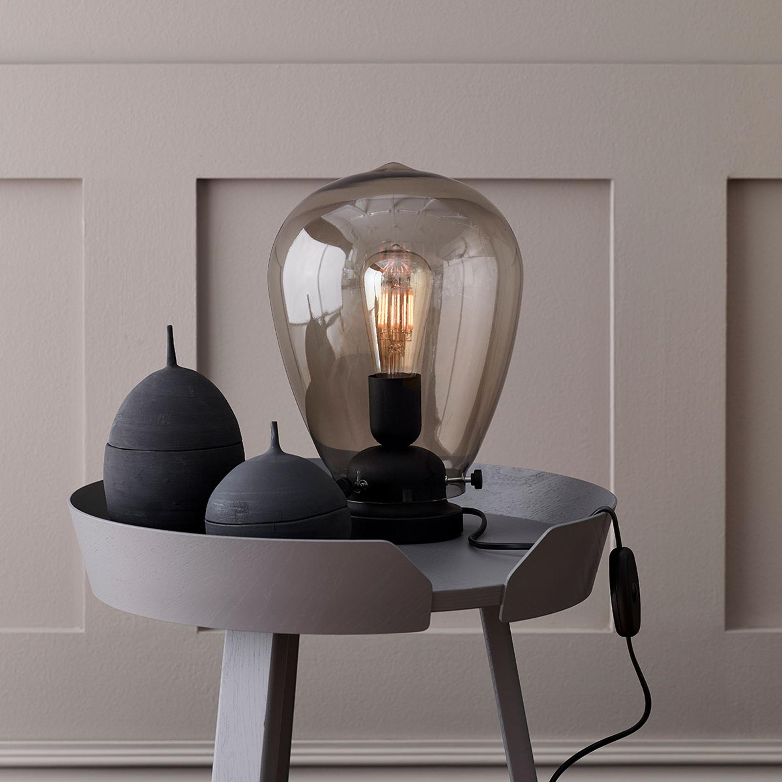 Tischlampe Dolores schwarzes Gestell, Rauchglas