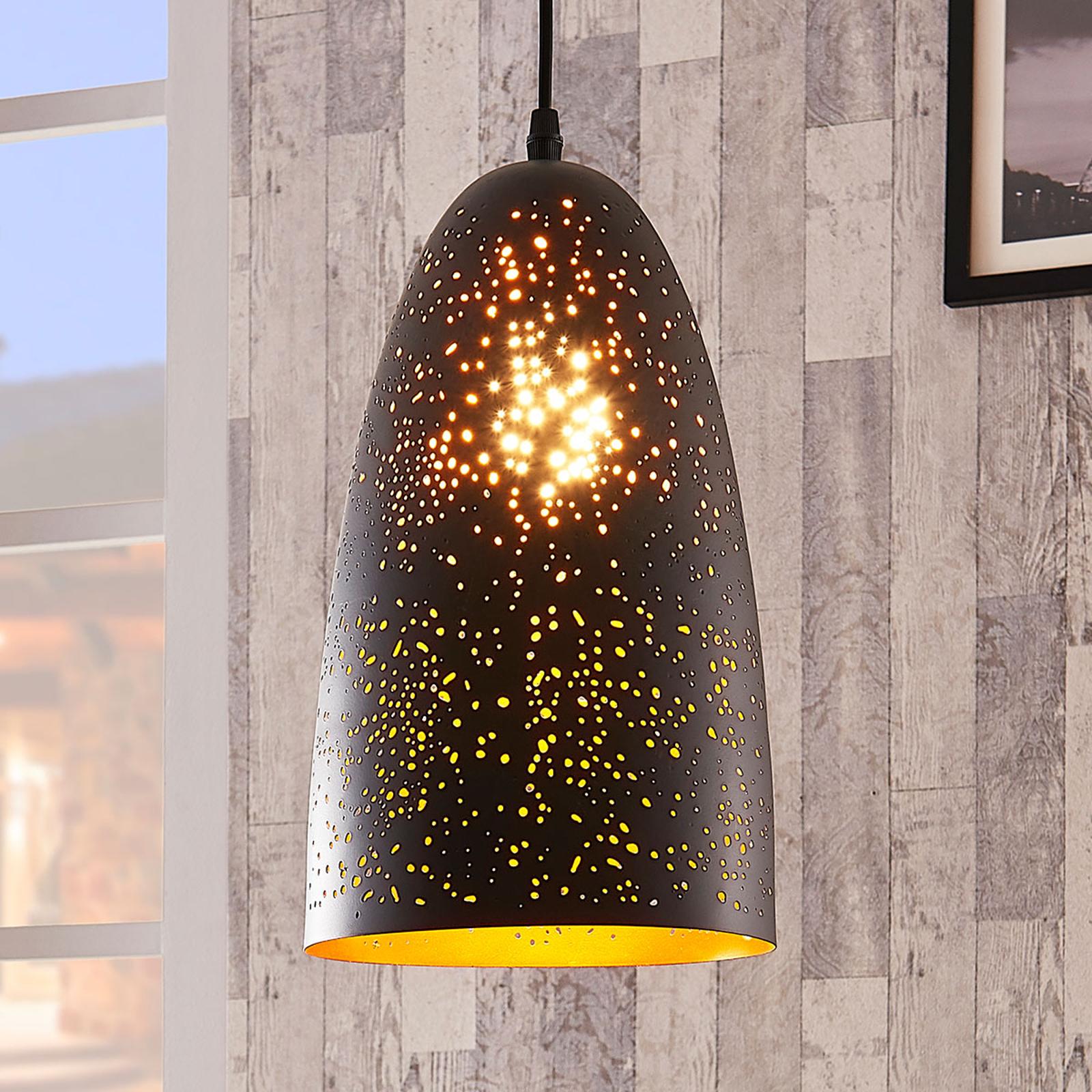 Czarno-złota metalowa lampa wisząca Tola
