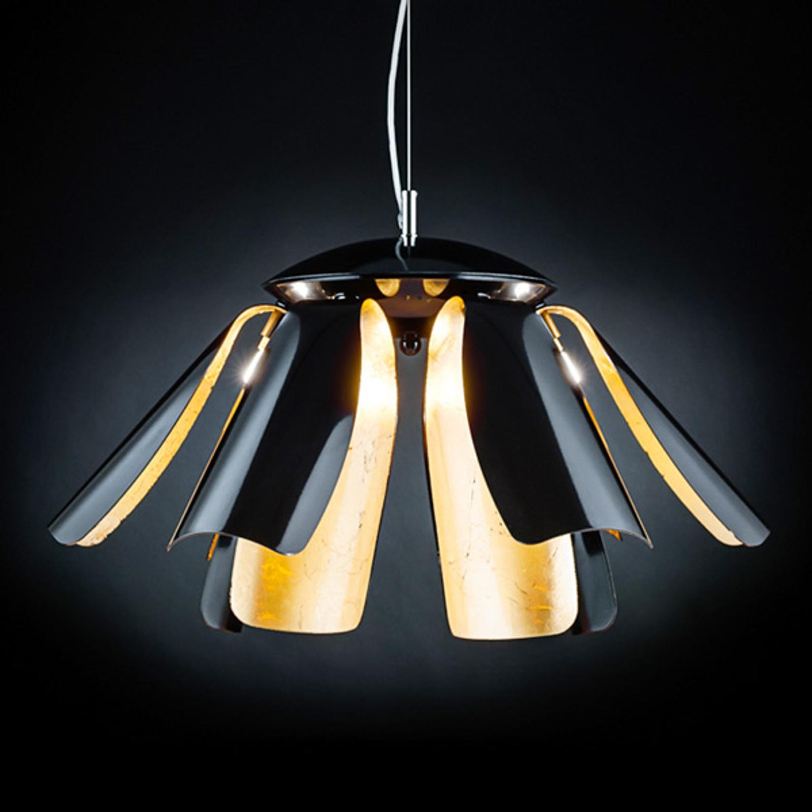 Designer-Hängeleuchte Tropic 60 cm braun/blattgold