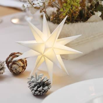 hvid, 18-takket stjerne 12 cm