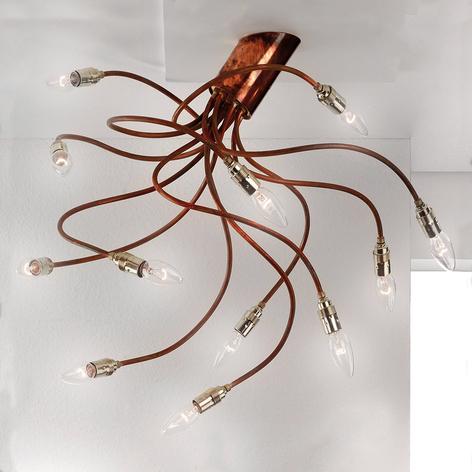 Měděné stropní světlo BRAZONA s dvanácti rameny