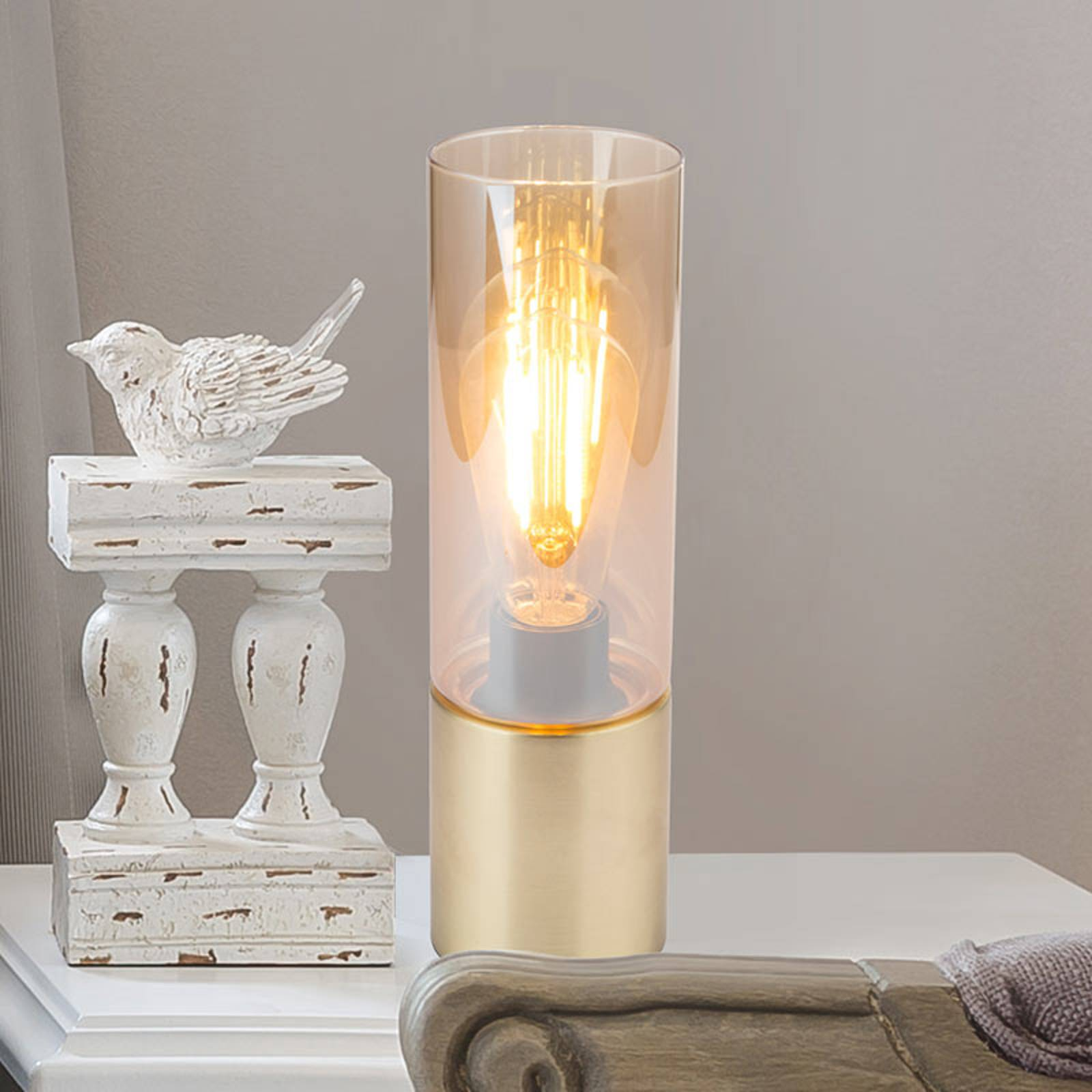 Tafellamp Annika, messing-amber