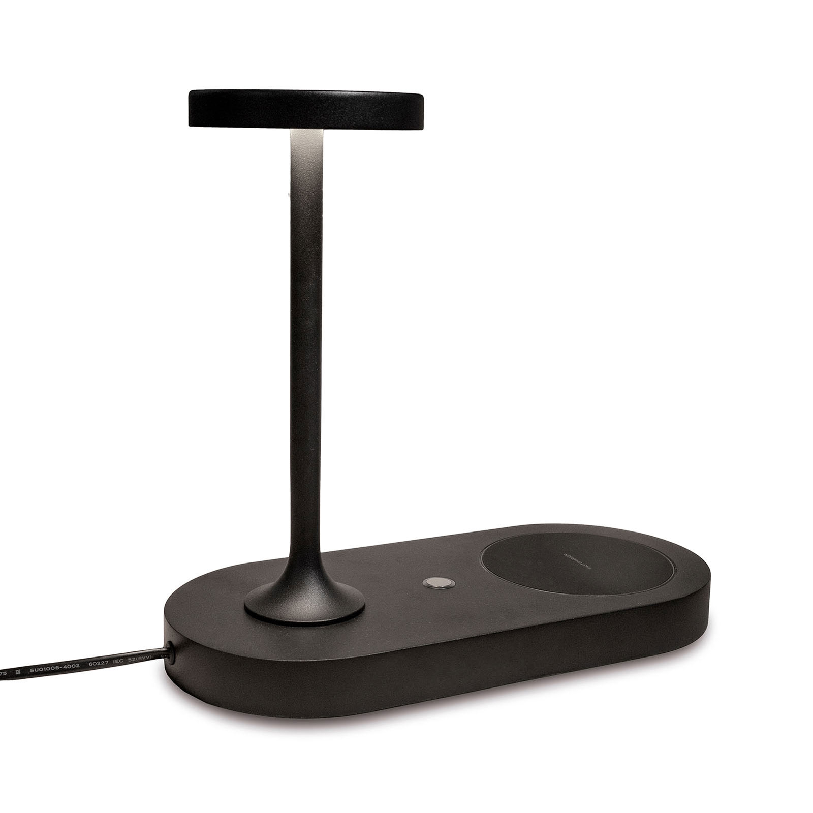 LED tafellamp Ceres met laadstation, zwart