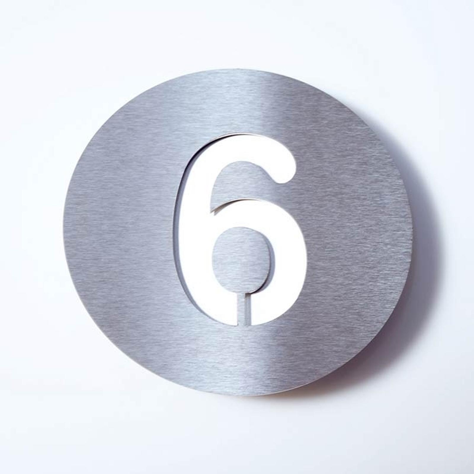 Número de casa Round de acero inoxidable - 6