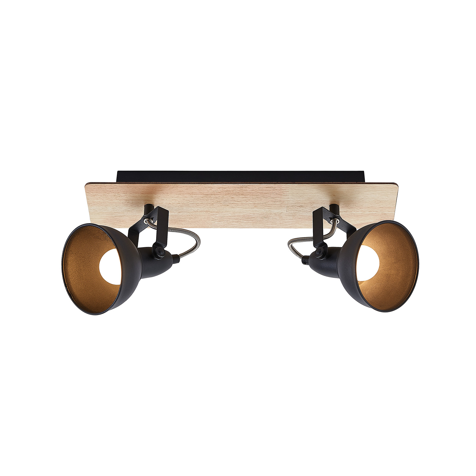 Lindby Aylis Deckenlampe, schwarz, Holz, 2-fl.