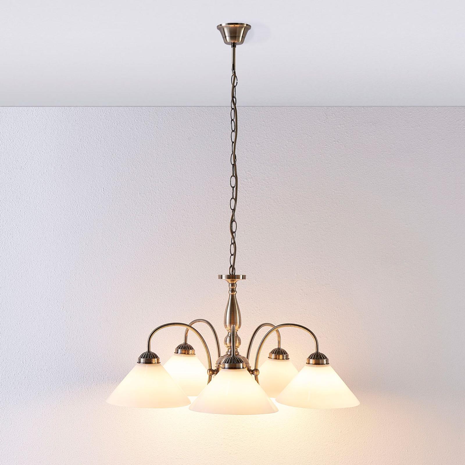 Clásica lámpara colgante Otis, 5 llamas
