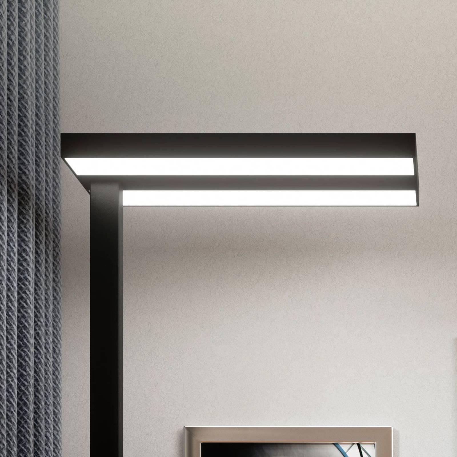 Biurowa lampa stojąca LED Logan czarna ściemniana