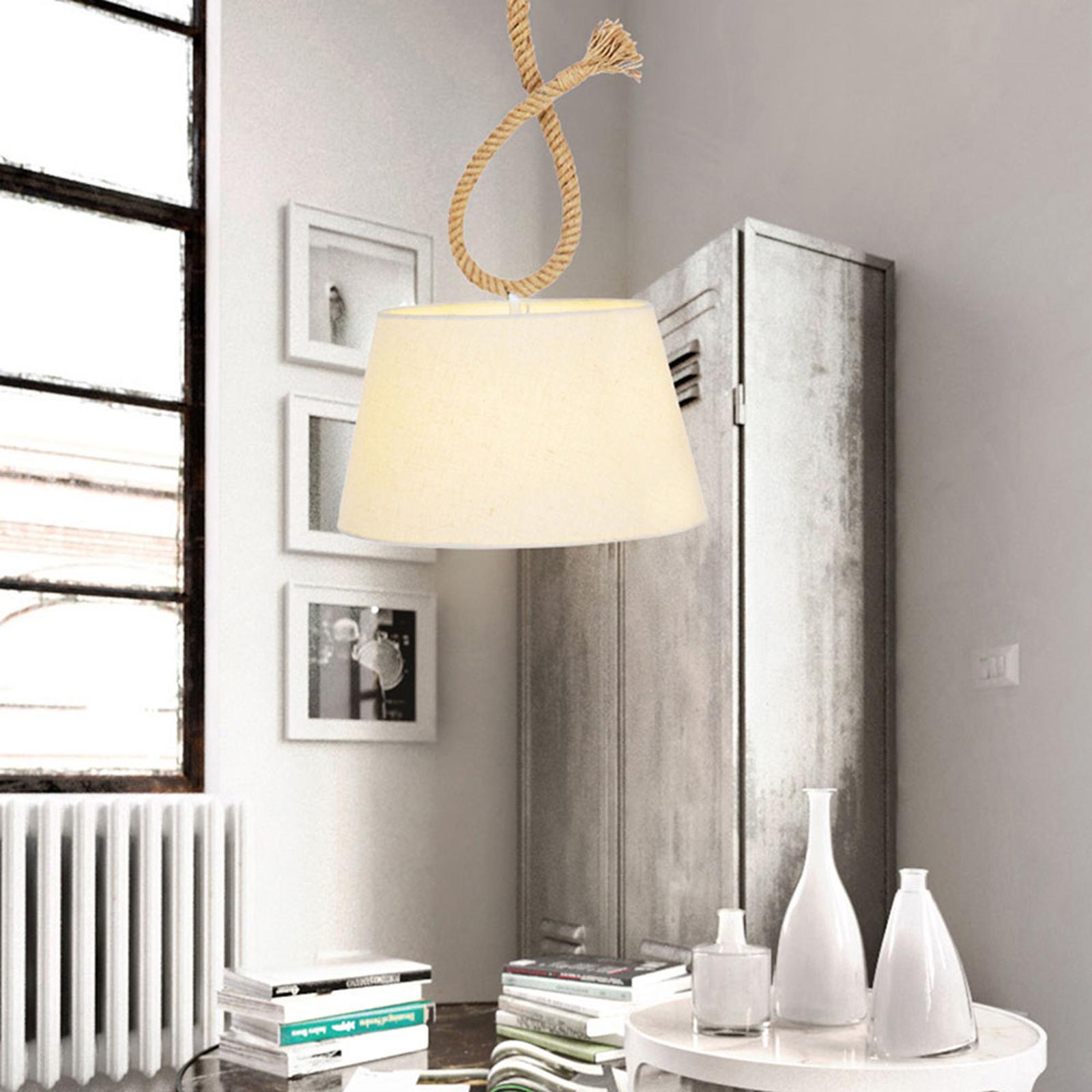 Hanglamp Rope met stoffen kap, Ø 35 cm