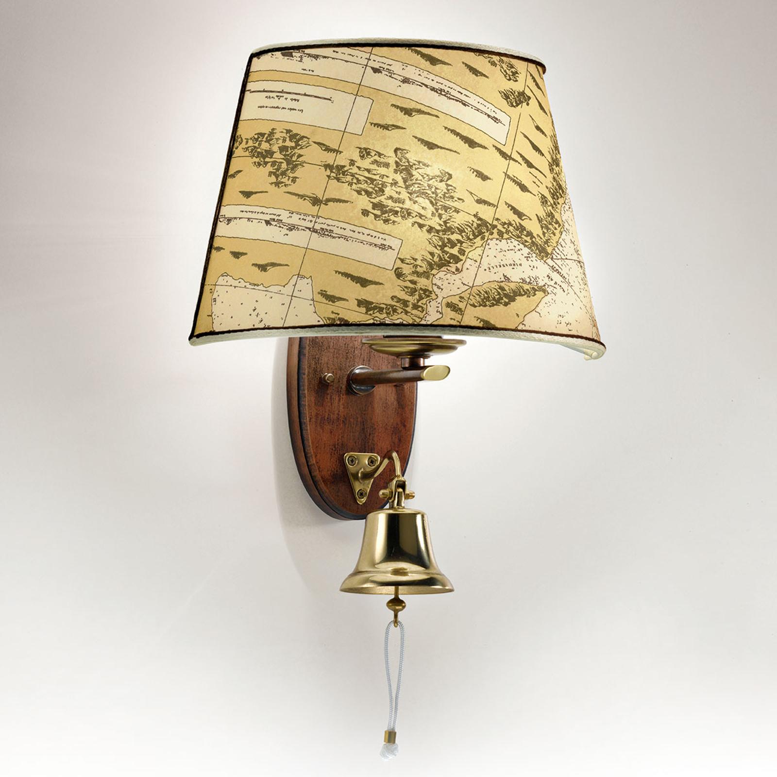Versierde wandlamp Nautica met scheepsklok