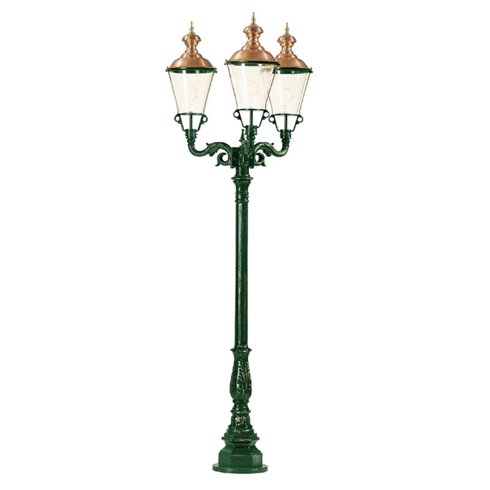Lampadaire Paris vert à trois lampes