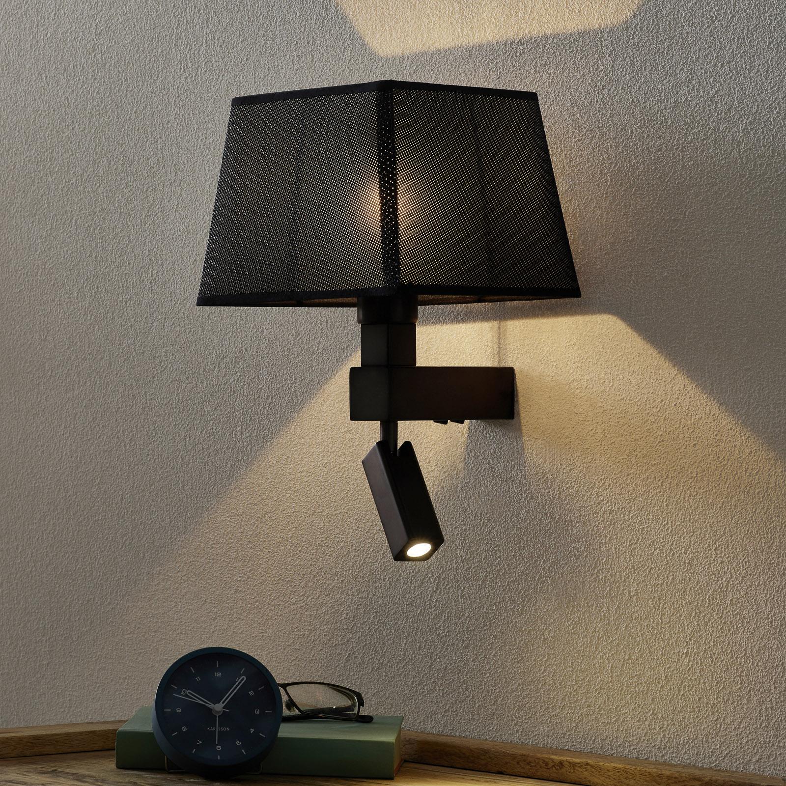 Met zwarte textiel lampenkap - wandlamp Bahia
