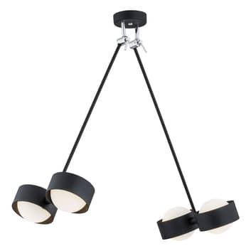 Lámpara colgante LED Macedo, 4 luces, negra