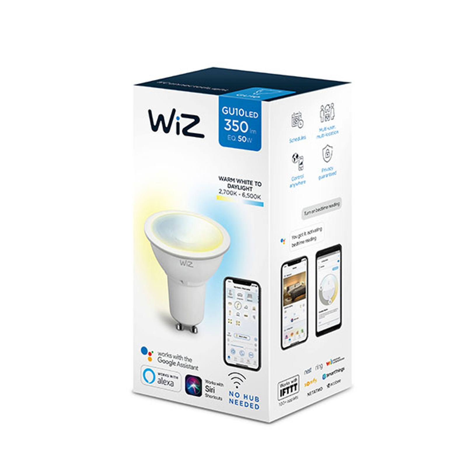 WiZ GU10 LED-Lampe, Ø 5 cm, 5,5 W, 2.700 - 6.500 K