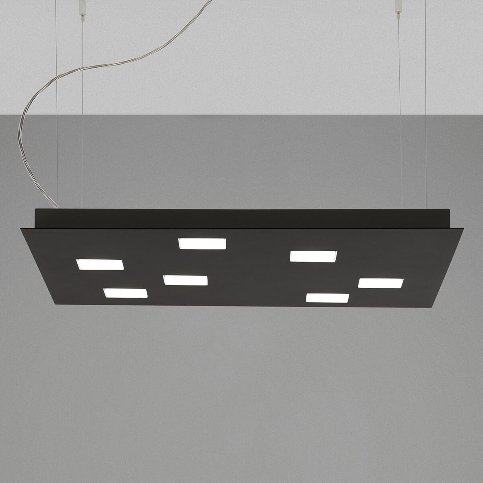 Fabbian Quarter - schwarze LED-Hängeleuchte 7flg.